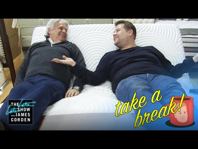 James Corden Helps Out At Mattress Store And Cuddles With Customers