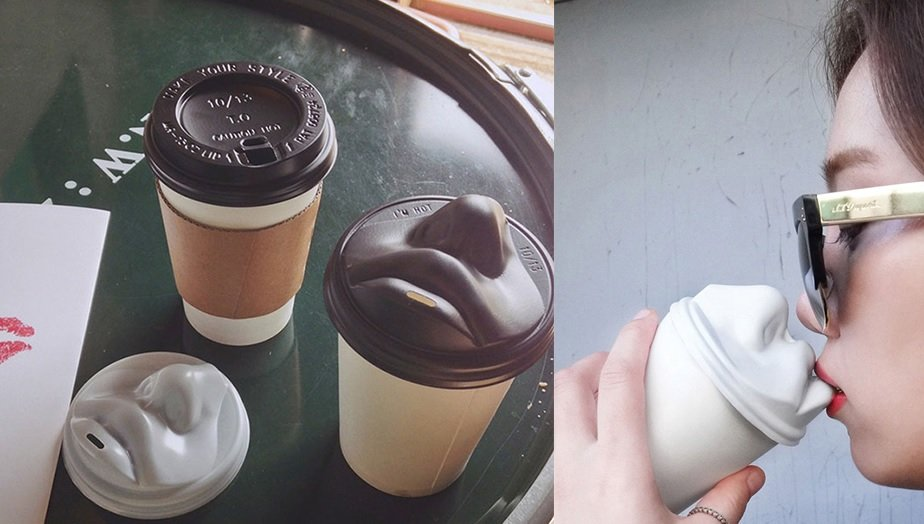 Korean Designer Creates Coffee Lid With Realistic Nose And Lips