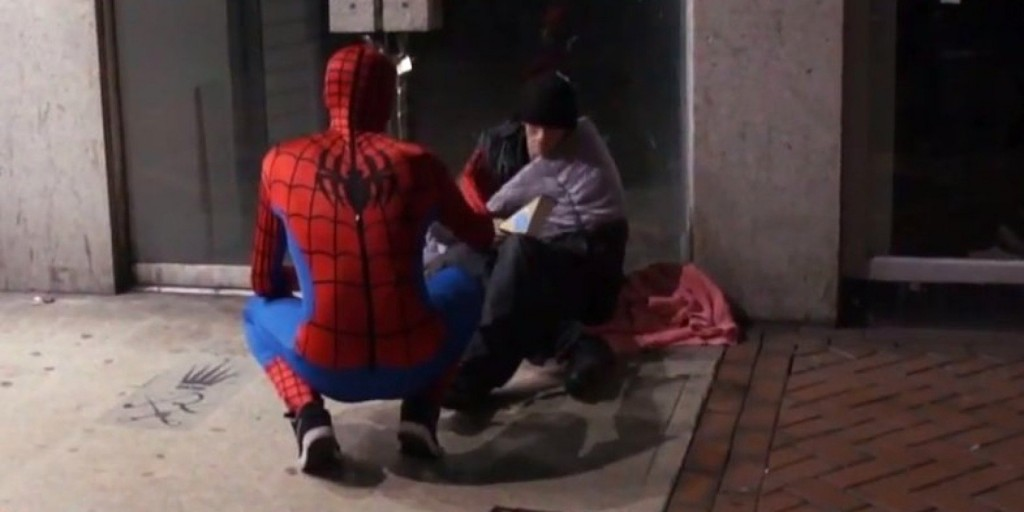 Man Dressed As Spider-Man Is Feeding The Homeless