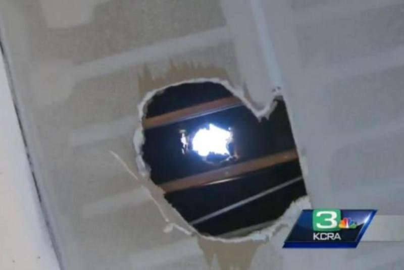 Massive Block Of Ice Falls From Sky And Crashes Through Garage Roof