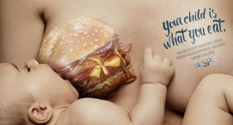 Breasts Painted With Junk Food To Deliver A Public Health Message