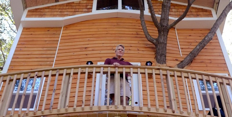 Grandfather Builds Amazing Treehouse And Giant Slide