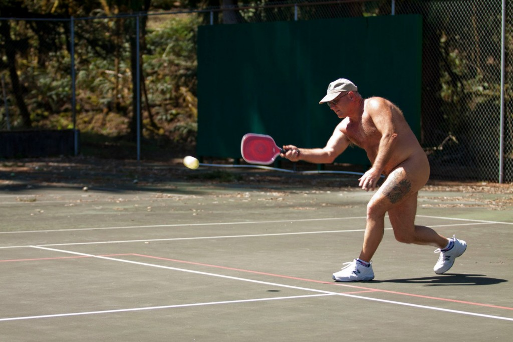 Nudist Tennis Club Members Protest Against Planned Bock Of Flats